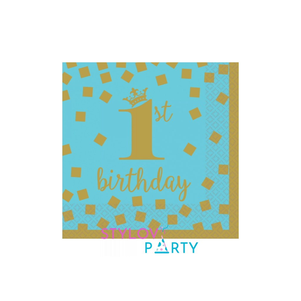 Ubrousky 1. narozeniny banketové modré se zlatým motivem 25x25cm 16ks