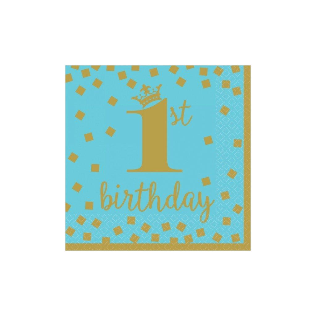 Ubrousky 1. narozeniny modré se zlatým motivem 33x33cm 16ks