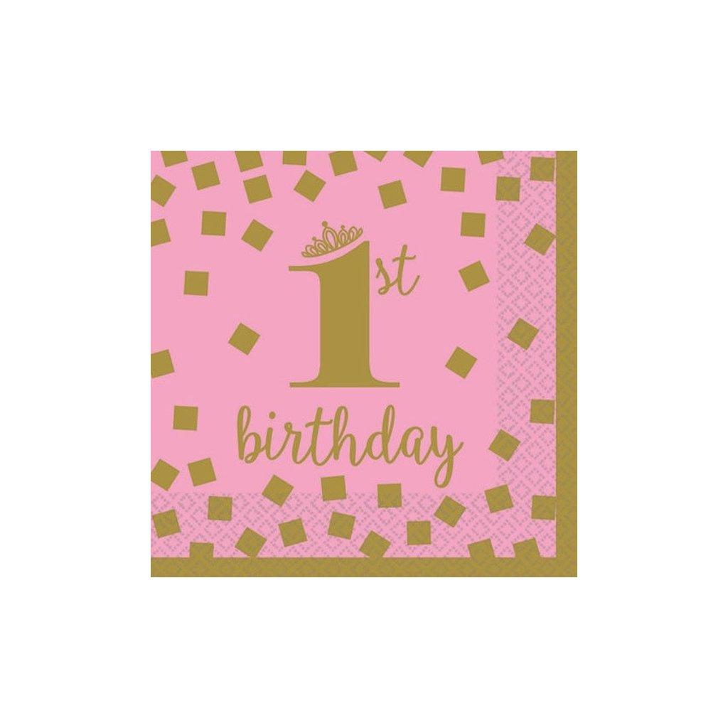 Ubrousky 1. narozeniny banketové růžové se zlatým motivem 25x25cm 16ks