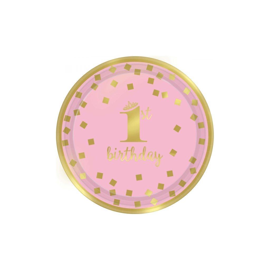 Talířky tematické na party 1. narozeniny růžové se zlatým motivem 23cm 8ks