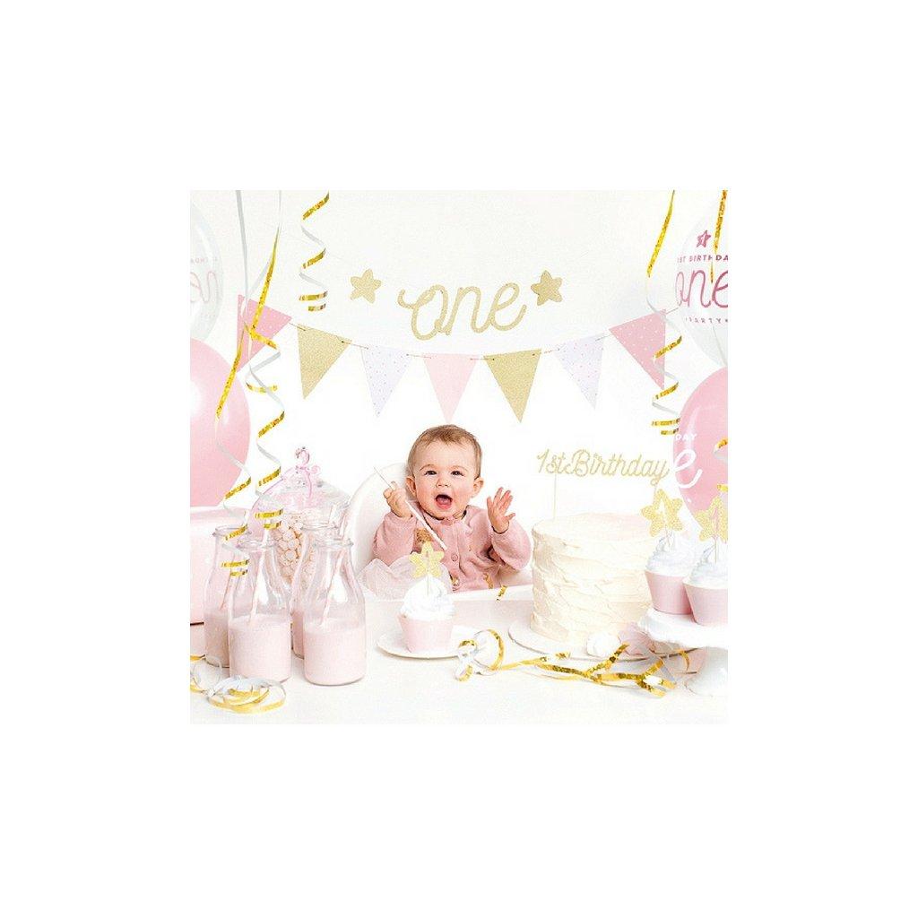 "Sada 1. narozeniny růžovozlatá ""One"""