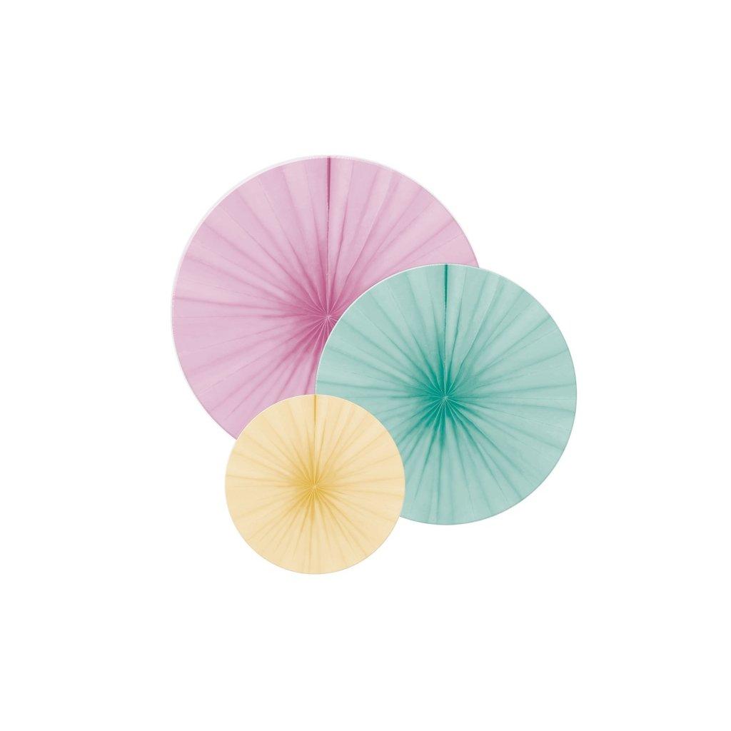 Rozety v pastelových barvách 3ks