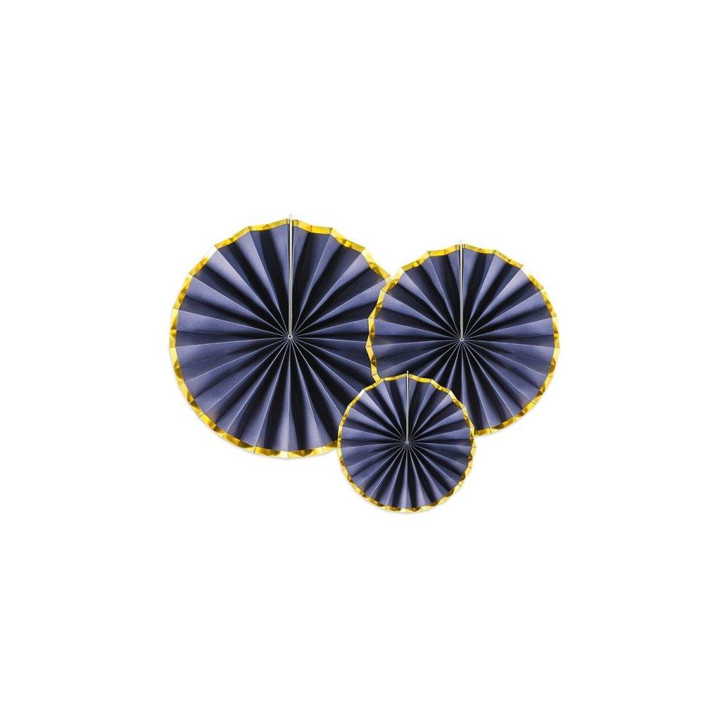 Rozety dekorační tmavě modré se zlatým okrajem 3ks