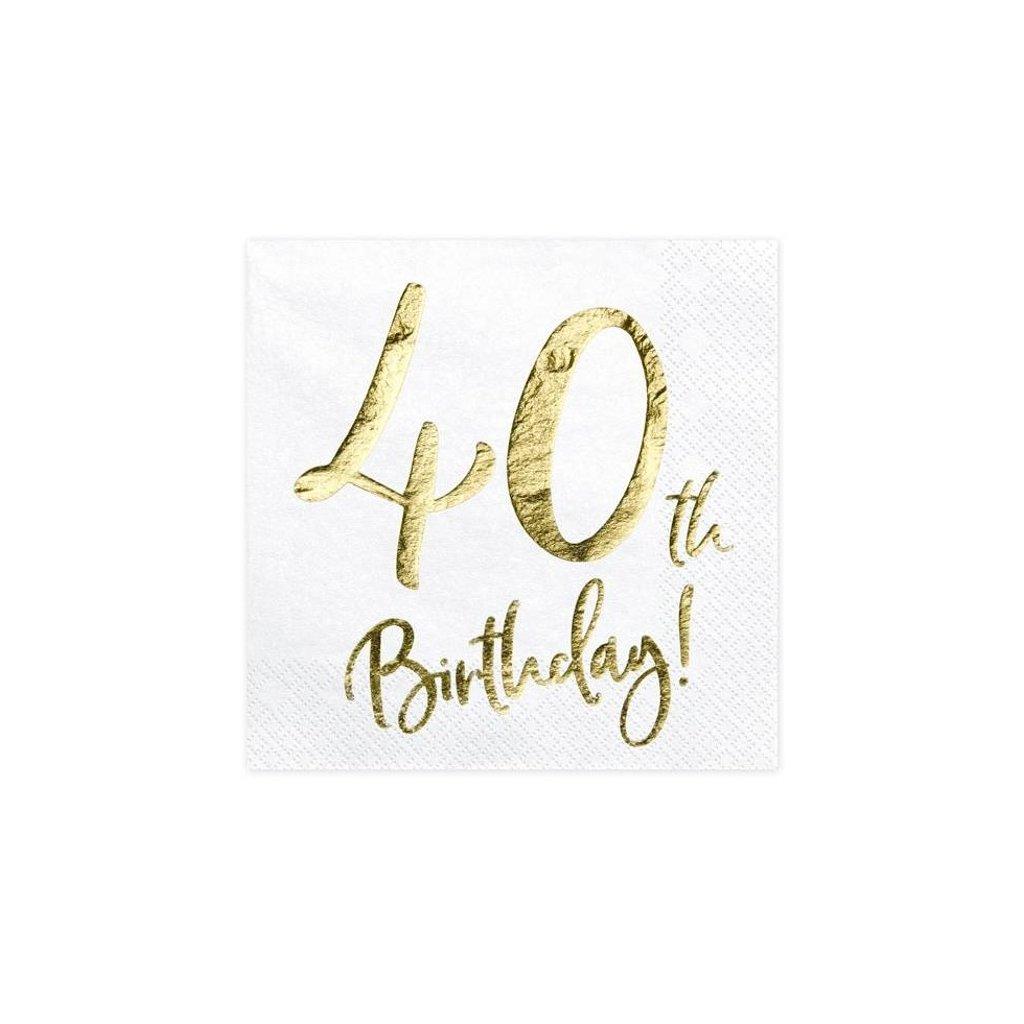 UBROUSKY 40.narozeniny bílé se zlatým nápisem
