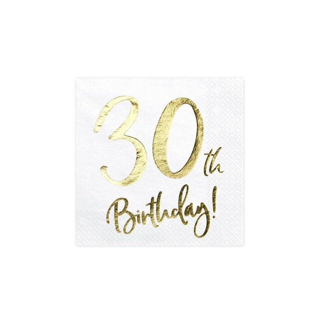 Ubrousky narozeninové 30 let bílozlaté 20ks