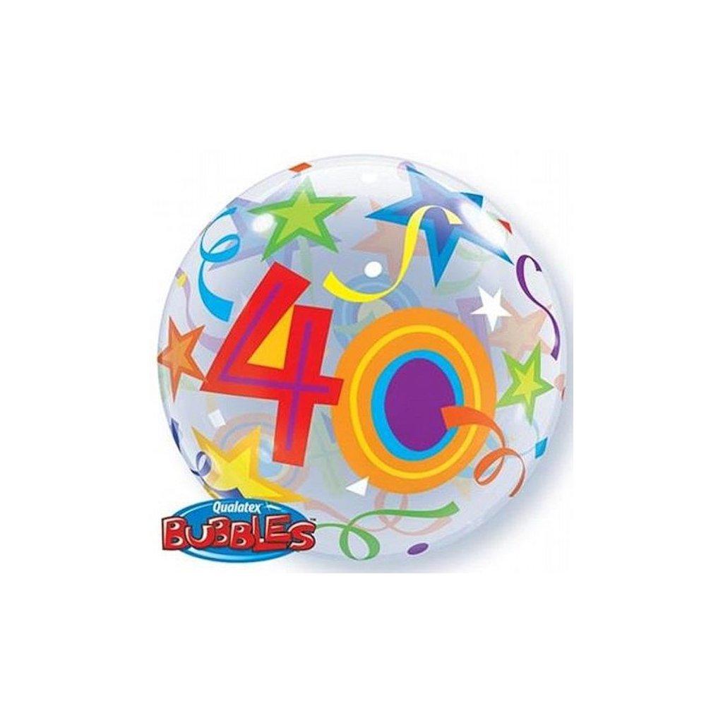 "Balonek Bubbles Happy Birthday ""40"" 56cm"