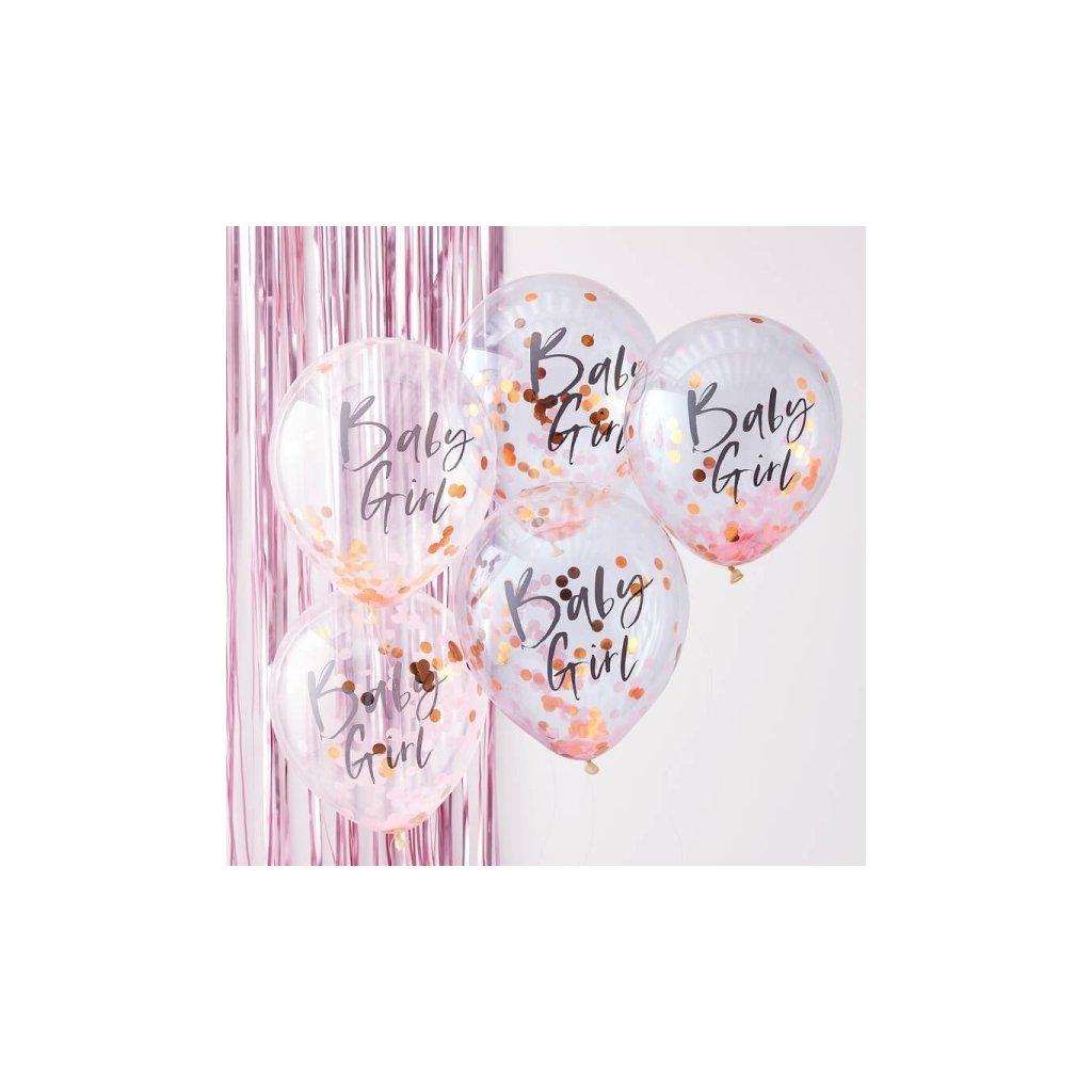 Balonky latexové transparentní s konfetami Baby Girl růžové 30cm 5ks