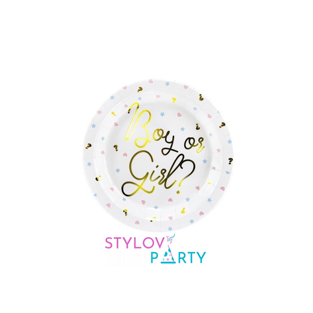Talířky tematické na party Gender Reveal  6ks