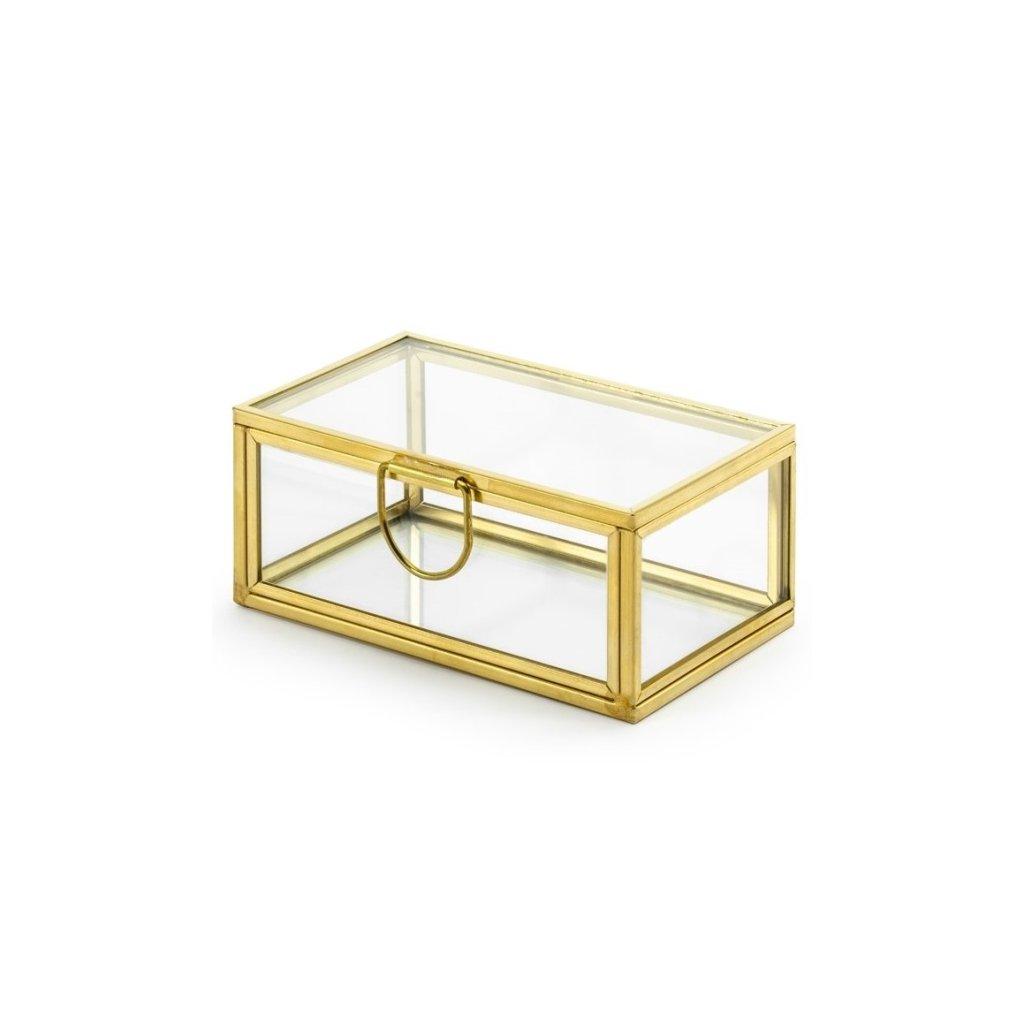 Krabička na snubní prstýnky zlatý rámeček 9 x 5,5 x 4 cm