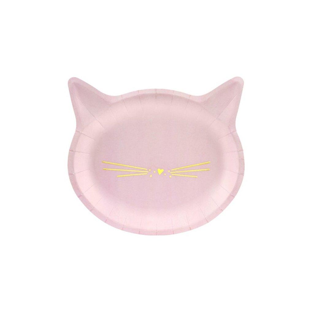 Talířky tematické na party Kočička růžové 6 ks