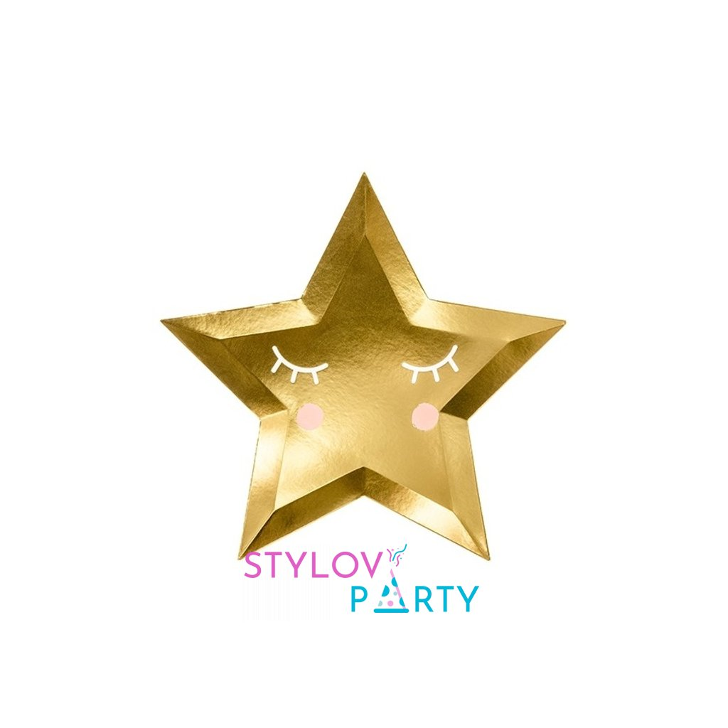 TALÍŘE Malá hvězda zlaté 27cm, 6ks