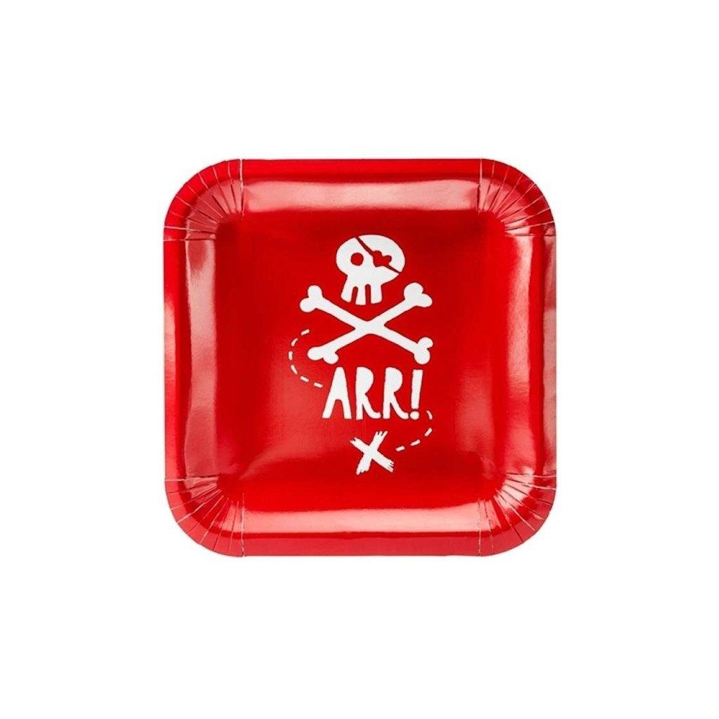 Talíře Pirátská party červené