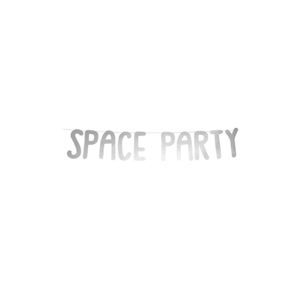 Banner stříbrný nápis Space Party  96 x 13cm
