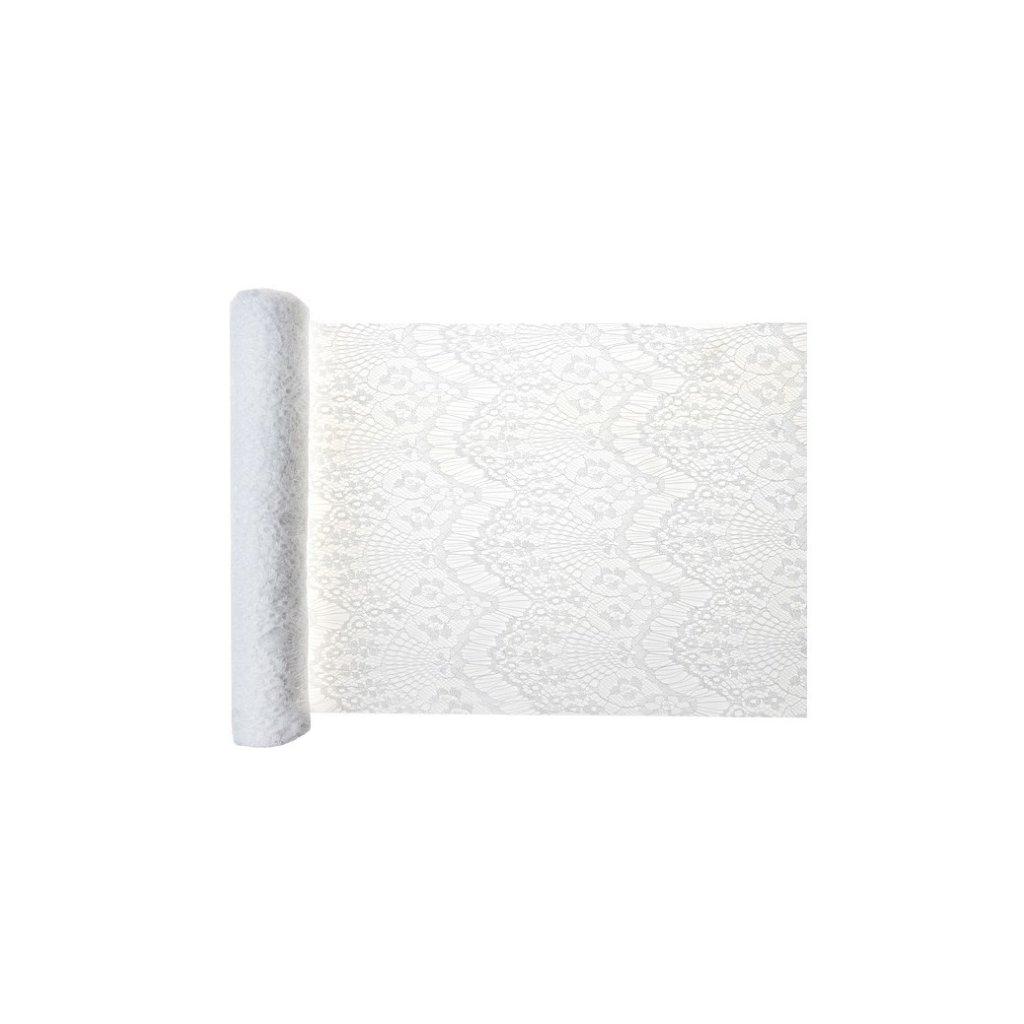 Šerpa na stůl Boho Chic bílá krajka 30cmx3m