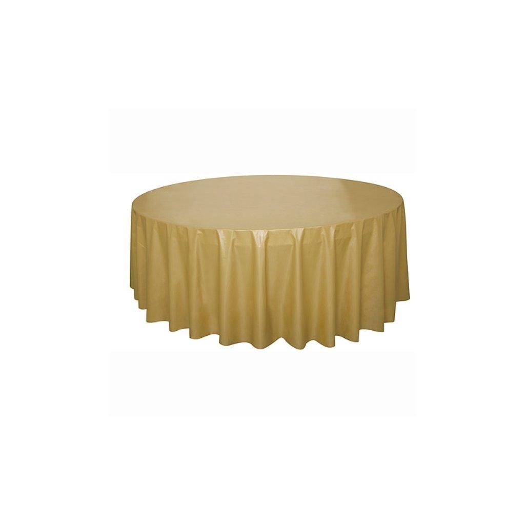 Ubrus plastový zlatý pro kulatý stůl 210cm