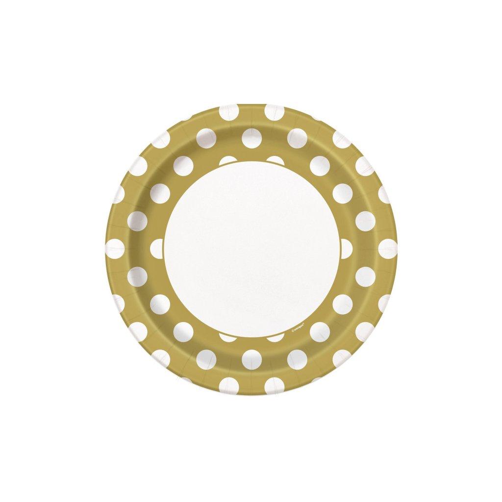 Talíře zlaté s puntíky 22cm 8ks