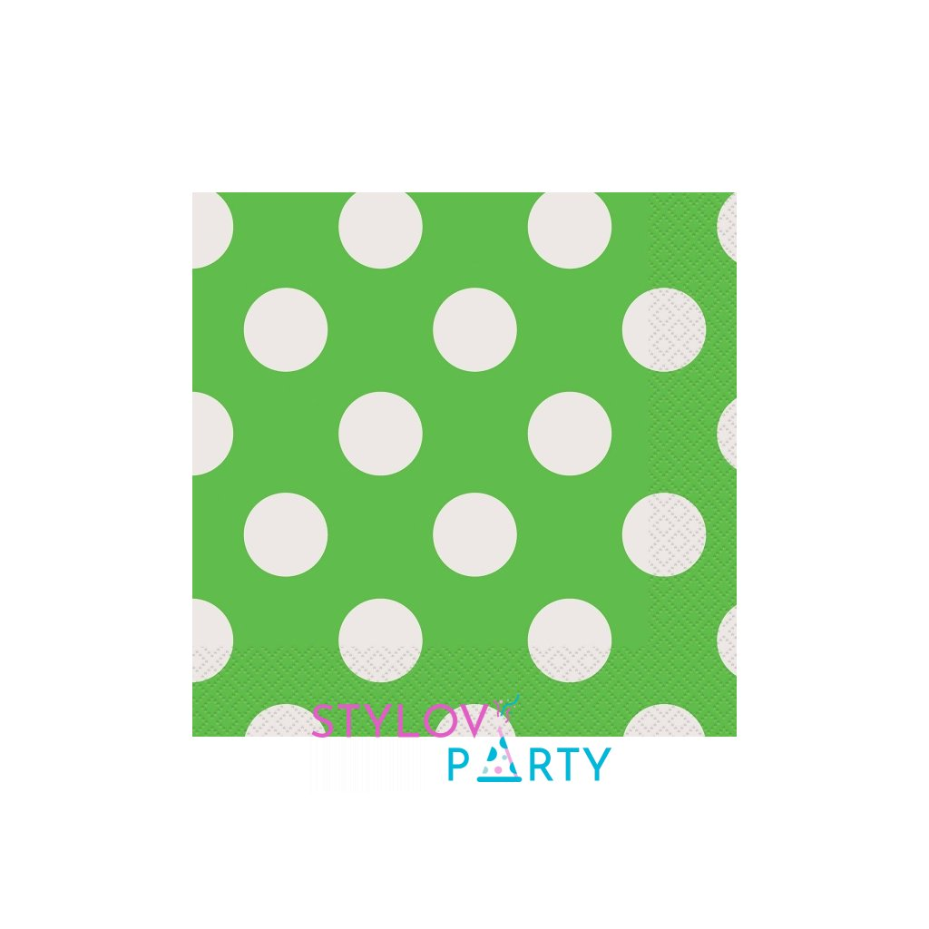 Ubrousky papírové zelené s puntíky 33x33cm 16ks