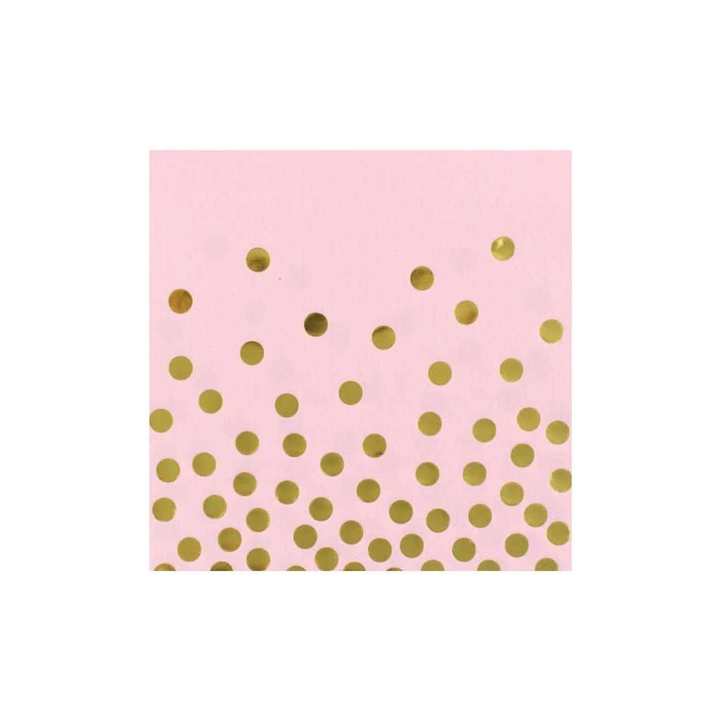 Ubrousky papírové růžové se zlatými puntíky 33x33 cm 12ks