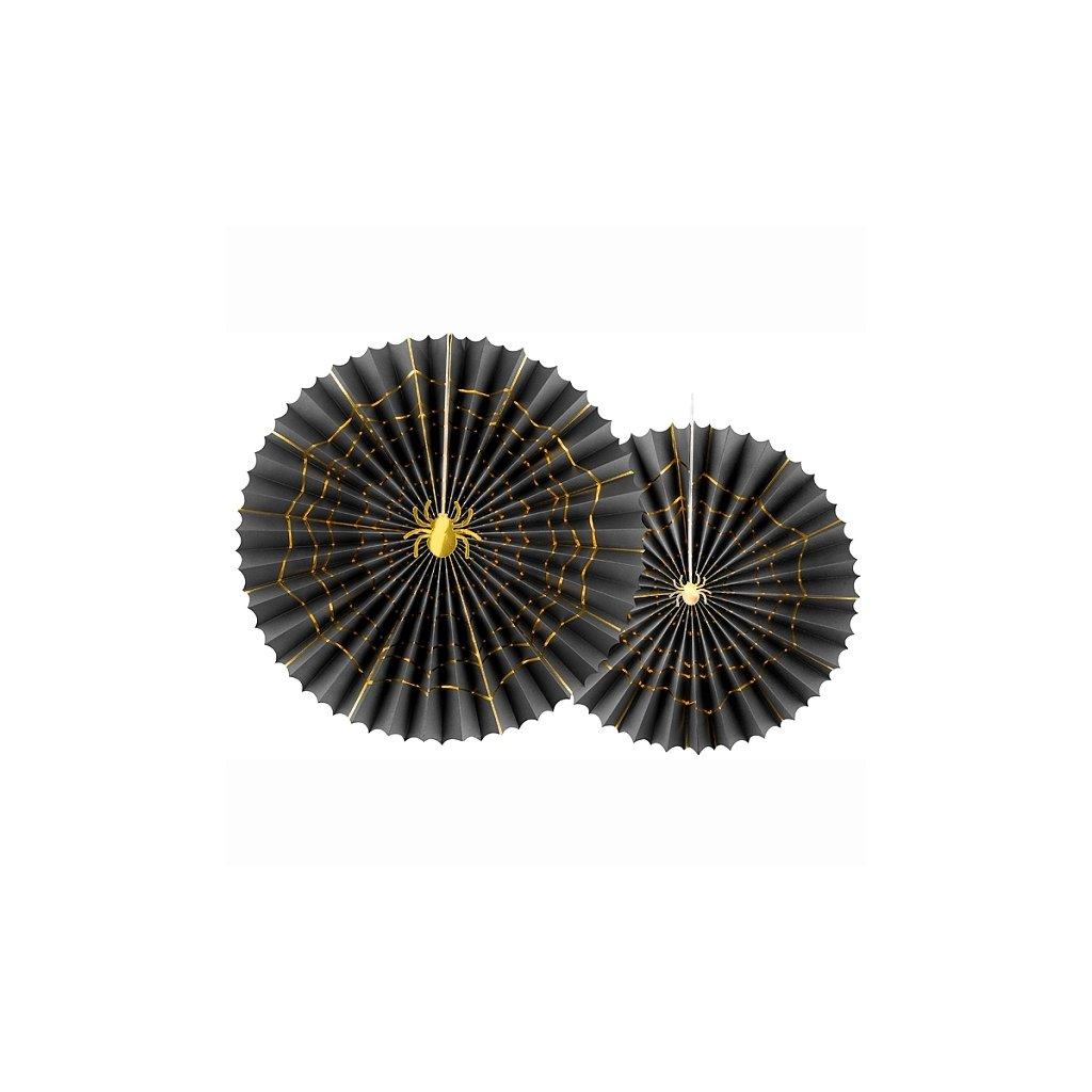 Rozety dekorační černé se zlatou pavučinou 2ks
