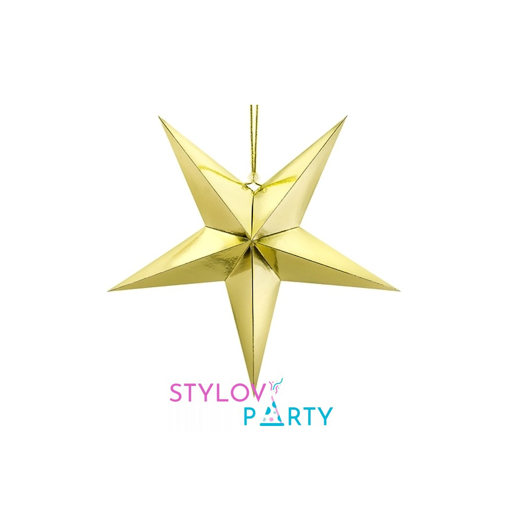 Hvězda papírová zlatá 45cm