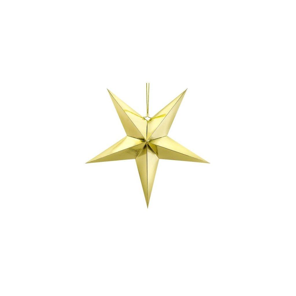 Hvězda dekorační metalická zlatá, vel. 70cm