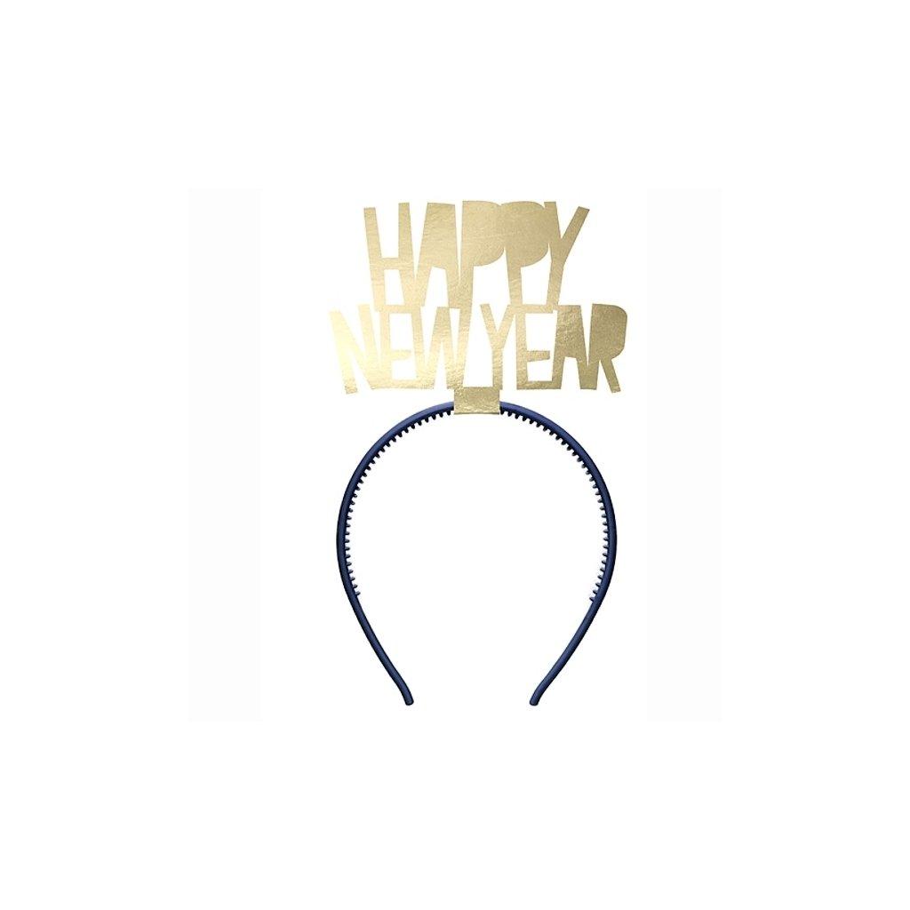 Čelenka Šťastný Nový Rok modrozlatá 1ks