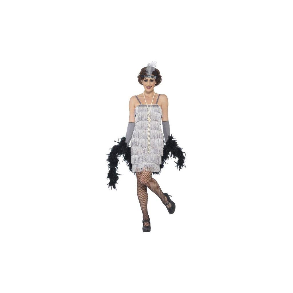 Kostým Velký Gatsby, šaty stříbrné Velikost S