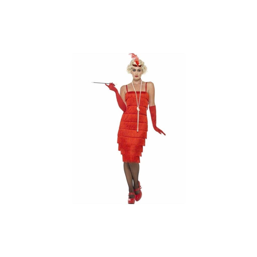 Kostým pro dámy ve stylu 20. léta červený Velikost L