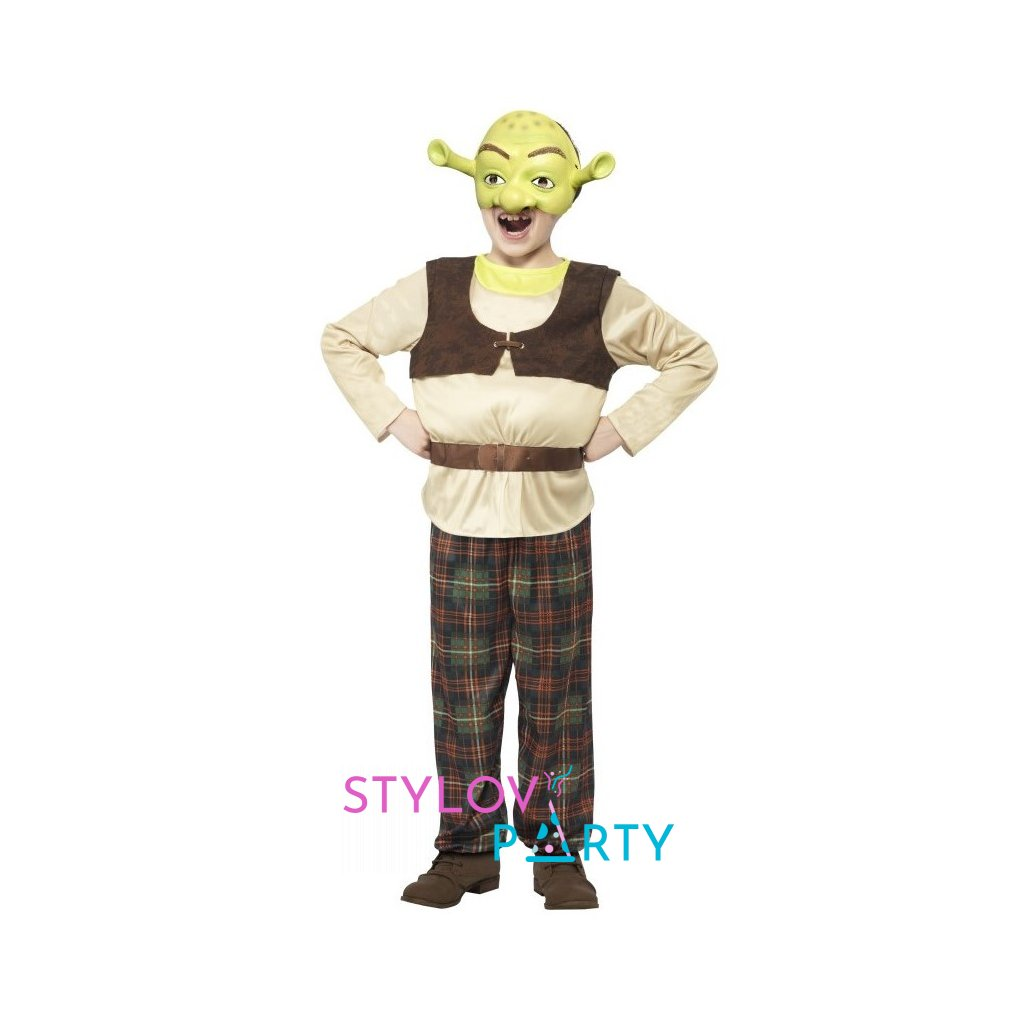 Kostým pro děti ve stylu Shrek. Velikost L, 1 ks
