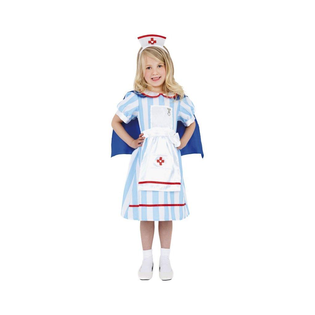 Kostým pro holčičky ve stylu Zdravotní sestřička. Bílomodrý, 1 ks, velikost M