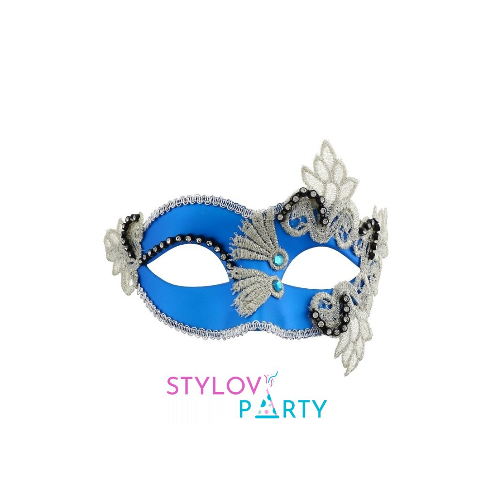 Maska v modré barvě benátský styl