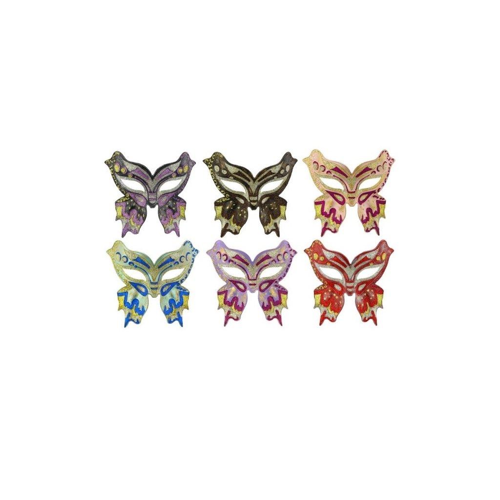 Škraboška pro dámy ve stylu Motýl zlato-modrá.