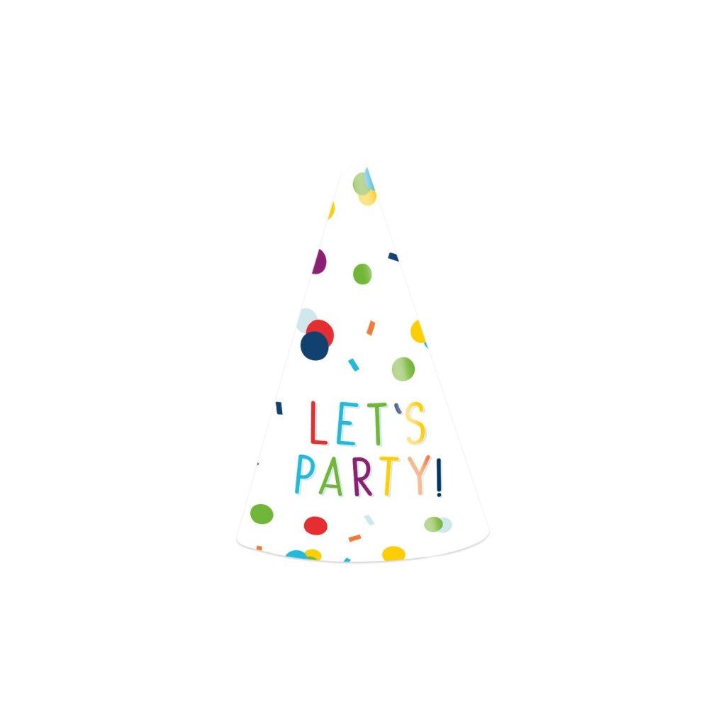 Čepičky na oslavu barevné Let's party! 8ks
