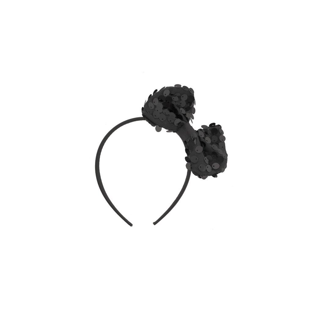 Čelenka v černé barvě s mašlí