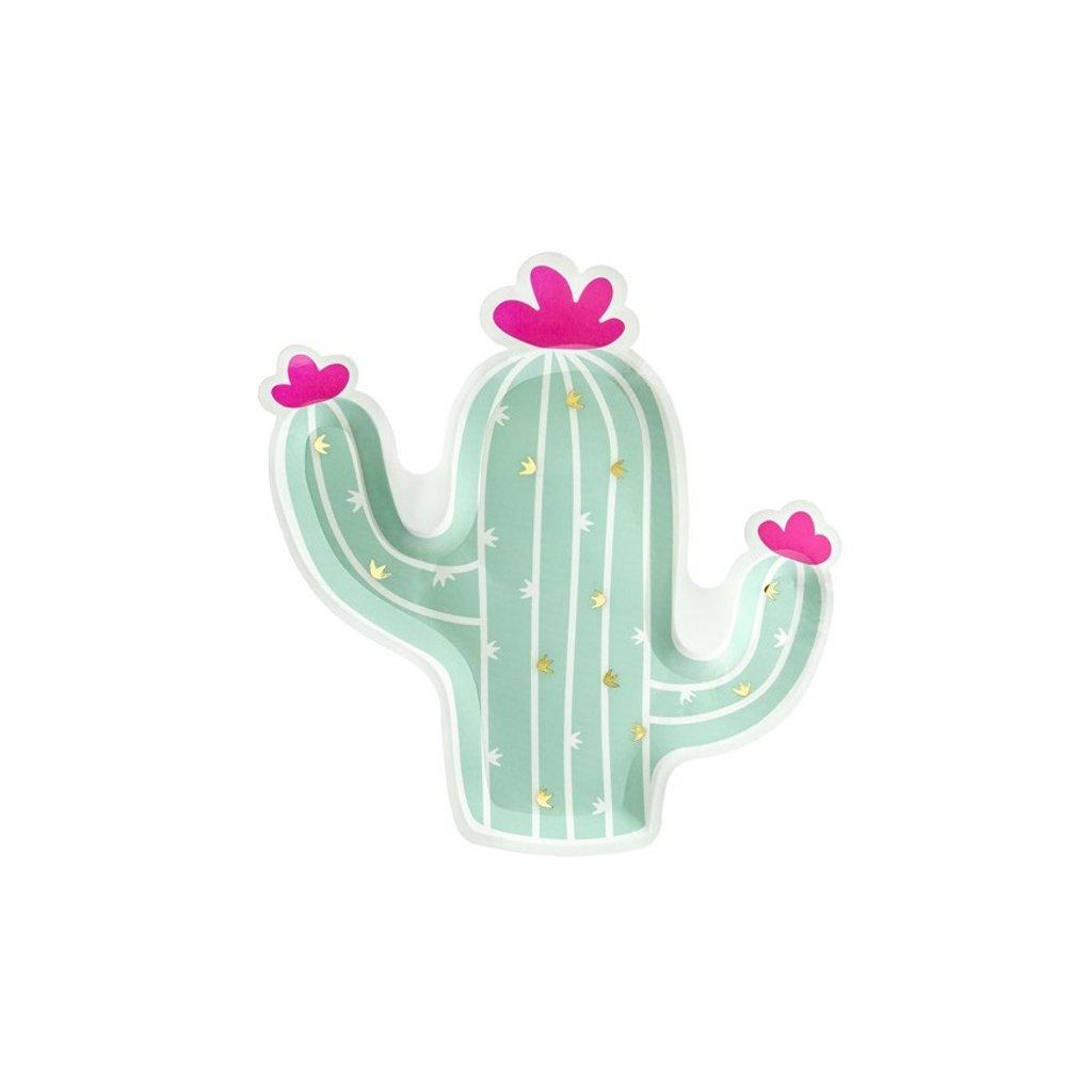 Talíře Cactus s květy zelený 6ks