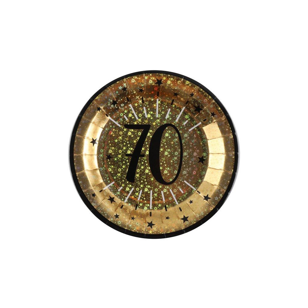 Talíře narozeninové 70 let zlatočerné 10ks