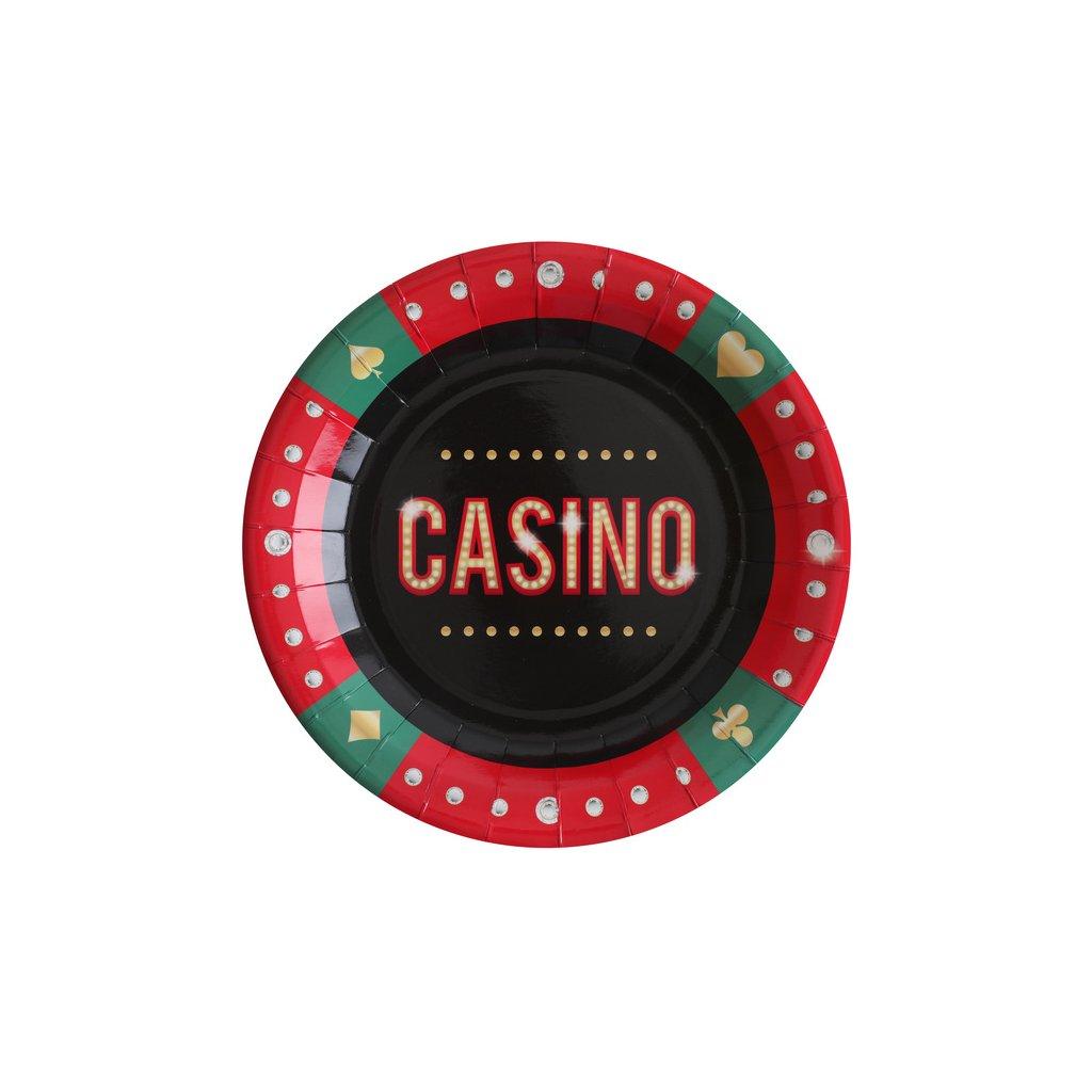 Talířky tematické na party s nápisem Casino 10ks