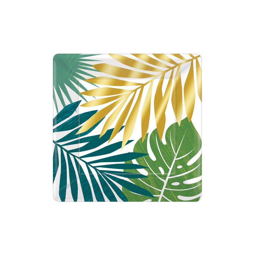 Talíře s tropickými listy velké 8ks