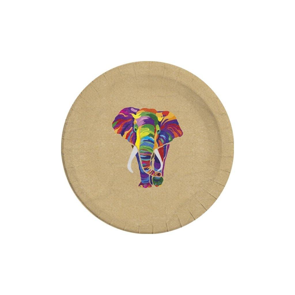 Talíře ekologické barevný slon 8ks