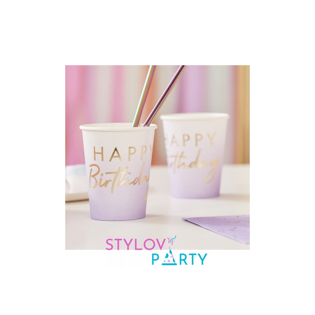 Kelímky narozeninové Mix it Up Omre lila 8ks