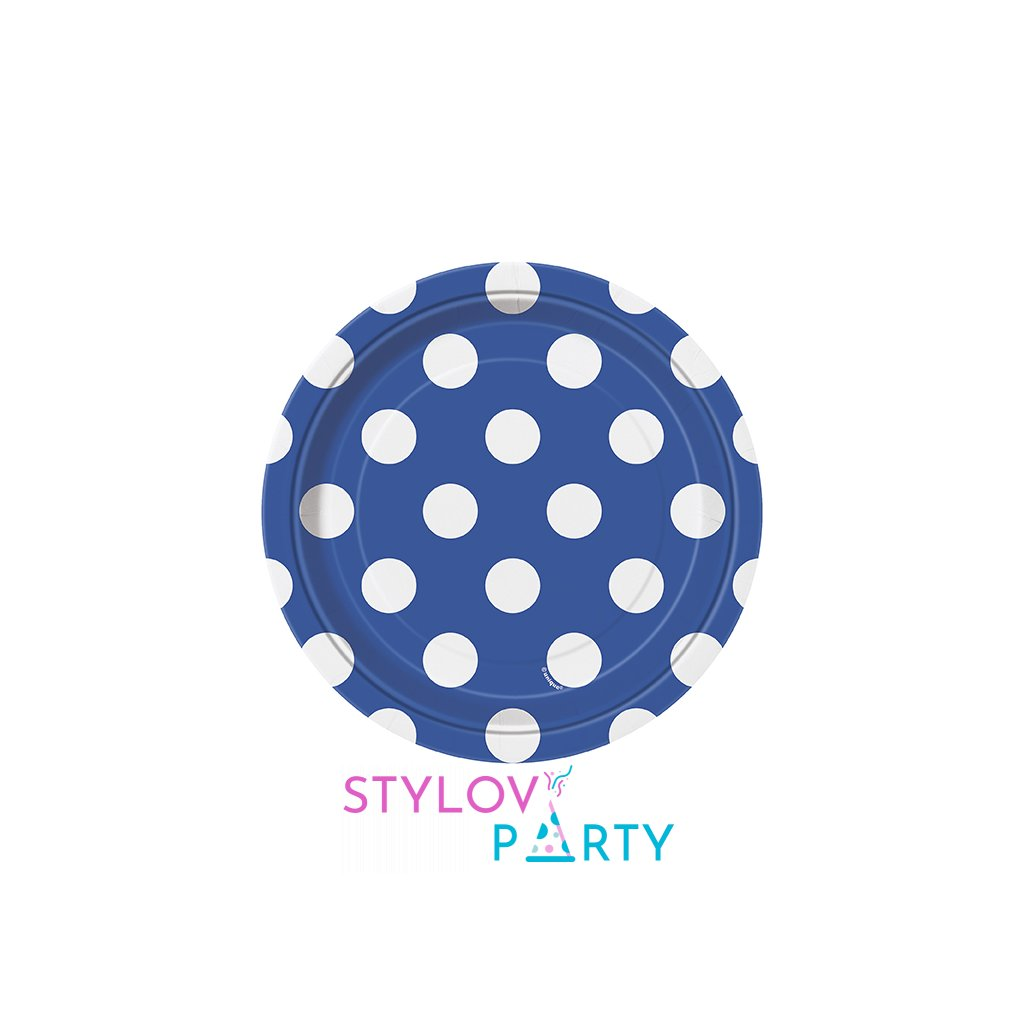 Talířky modré s puntíky 18cm 8ks