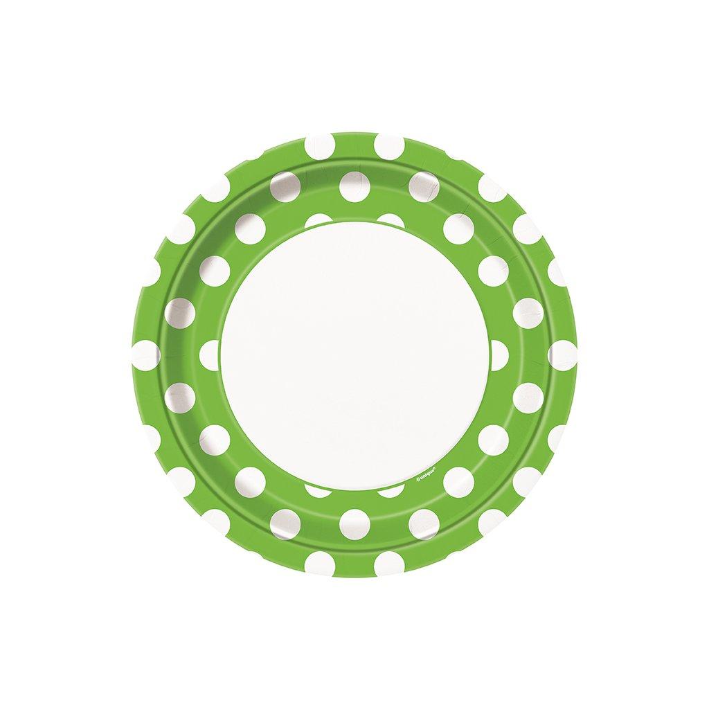Talíře zelené s puntíky 22cm 8ks