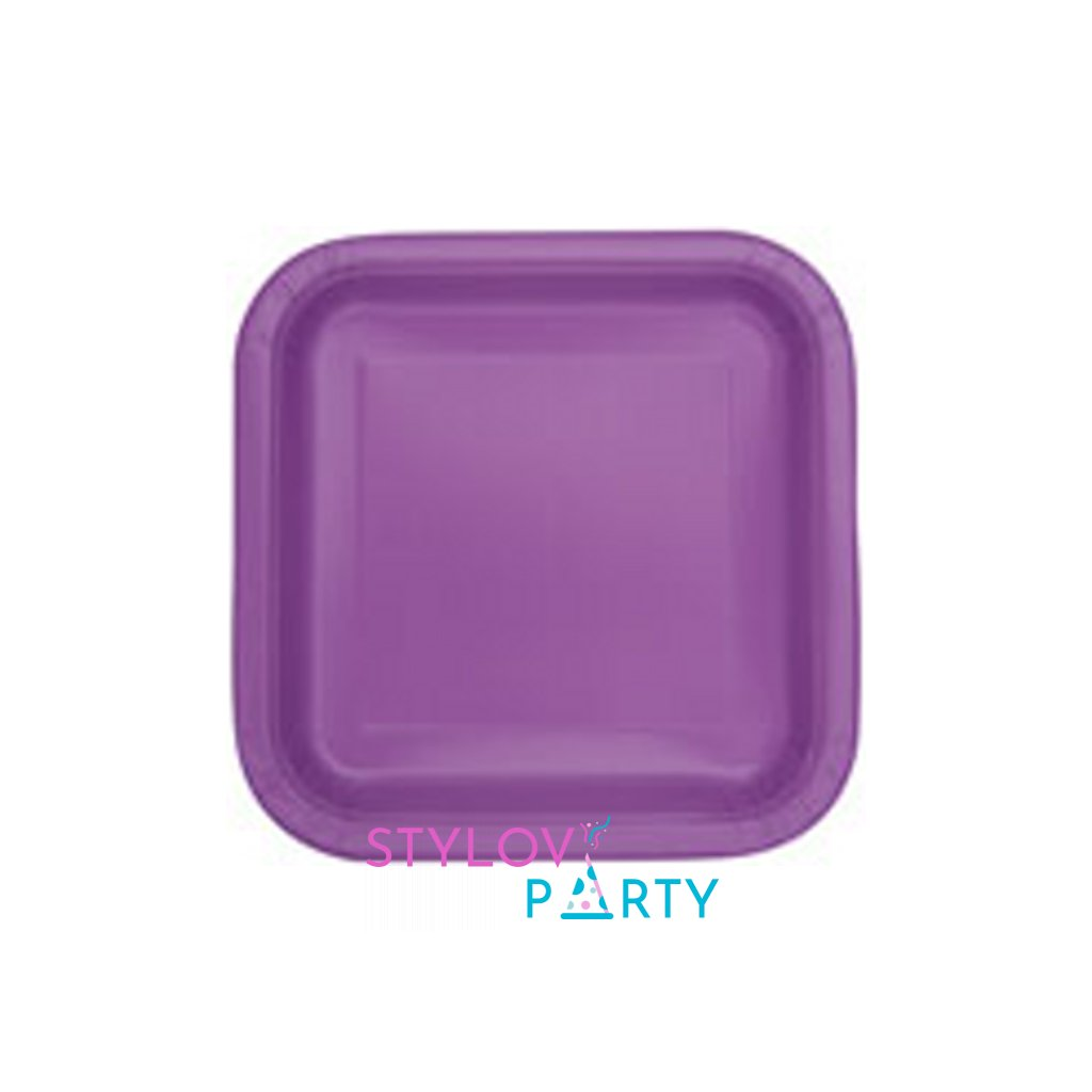 Talíře papírové Pretty purple čtvercové 23x23cm 14ks