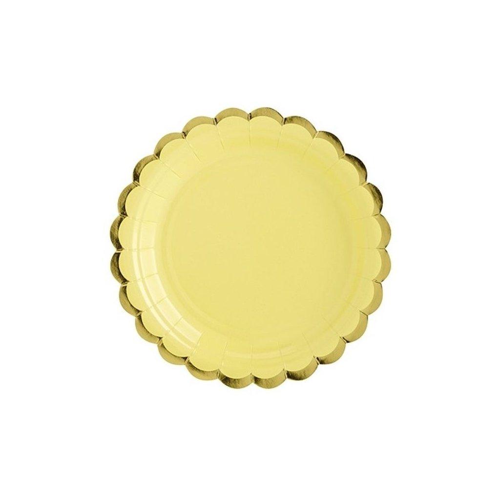 Talíře zlatý okraj žluté 6 ks