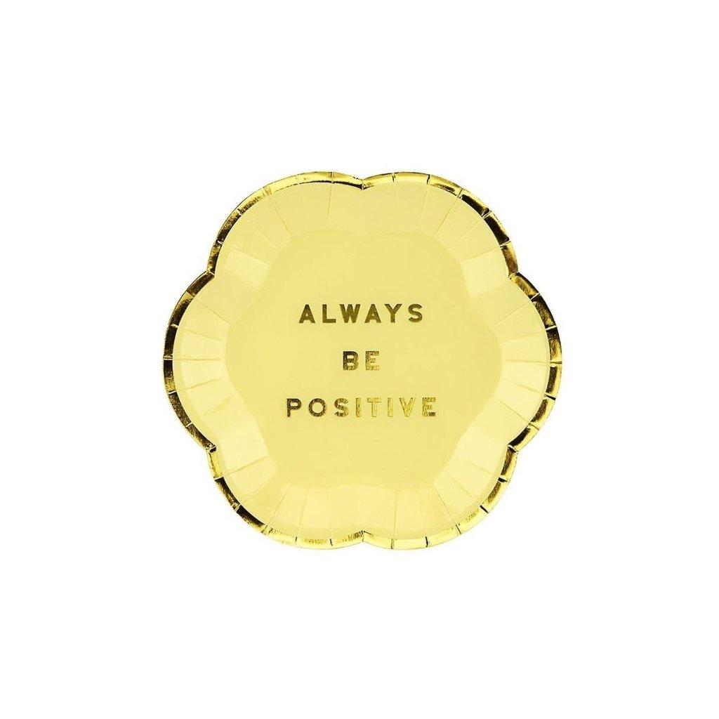 Talíře Always Be Positive světle žluté 6 ks