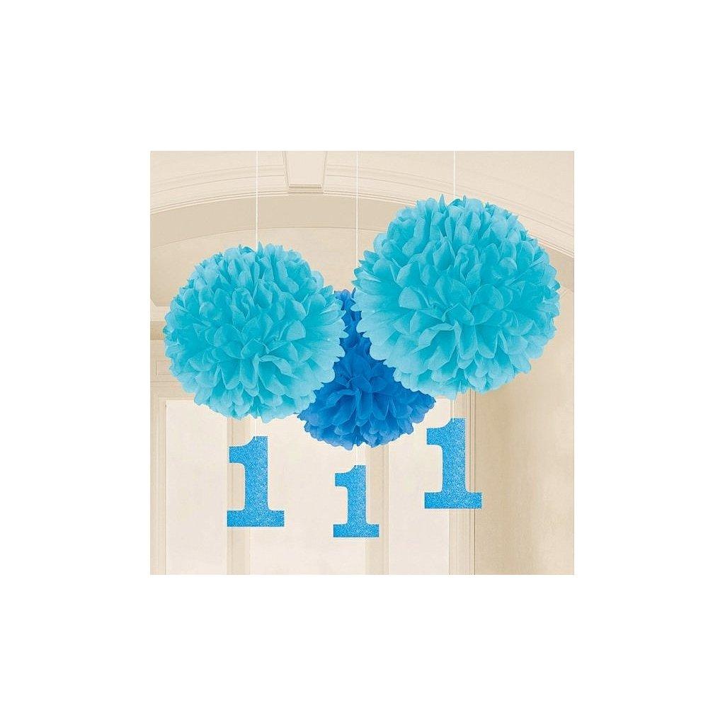 Pompomy 1. narozeniny modré