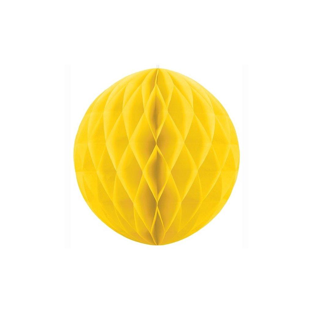 "Koule dekorační ""Honeycomb"" žlutá vel. 10cm"