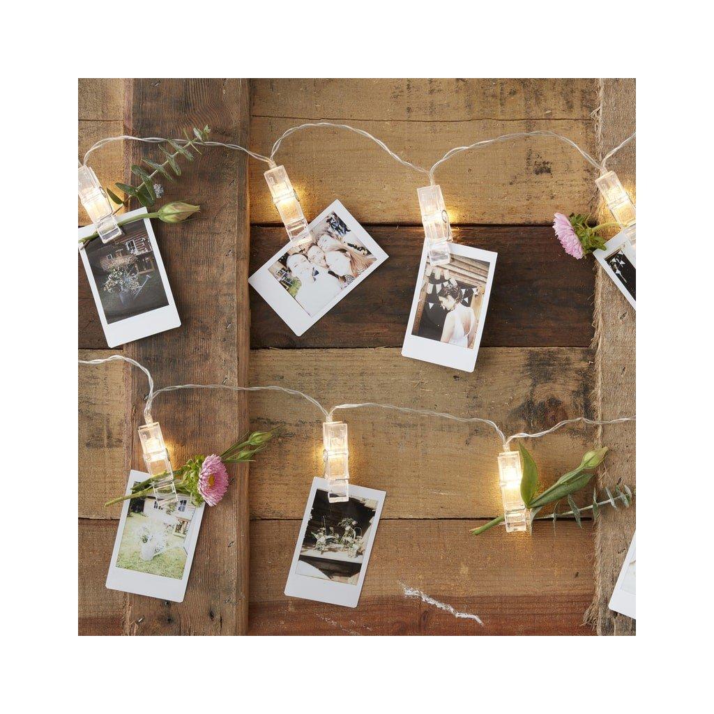 LED řetěz se svítícími kolíčky na fotky 140 cm