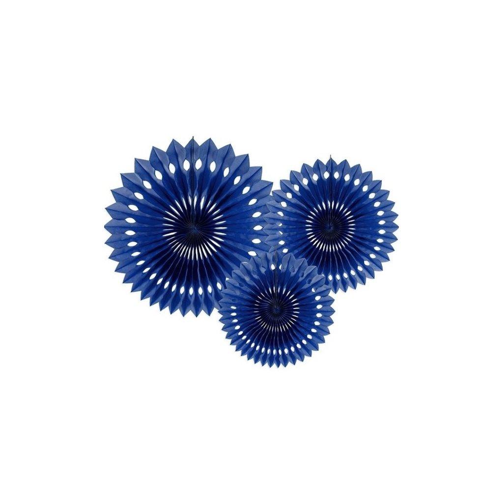 Rozety jednobarevné královsky modrá 3ks