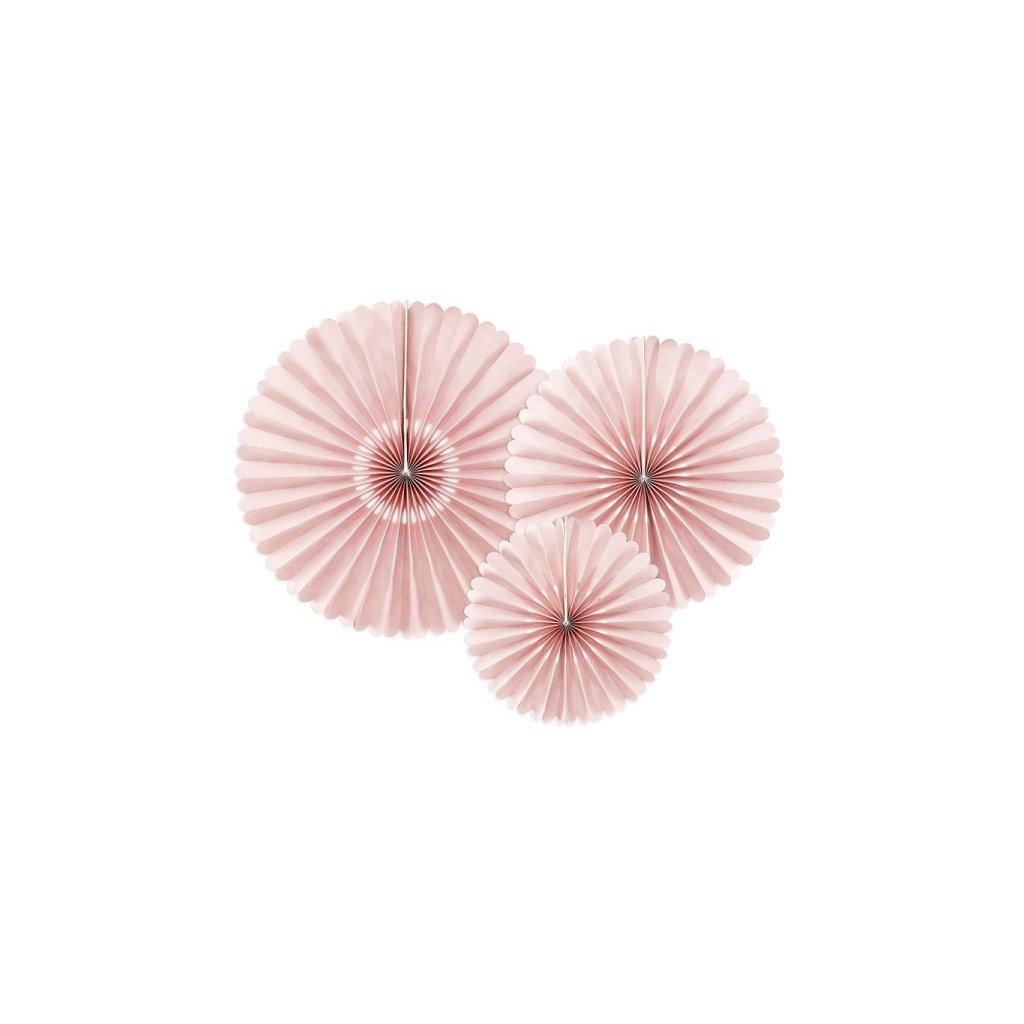Rozety dekorační popelavě růžová 3ks